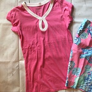 Lilly Pulitzer XS pink tee poof short sleeves NICE
